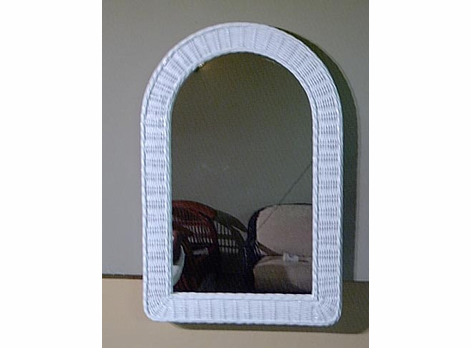 Arched Dome Wicker Mirror