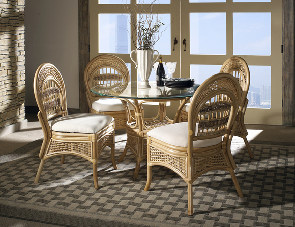 Armless Rattan Dining Set of 5 - Tropical Breeze