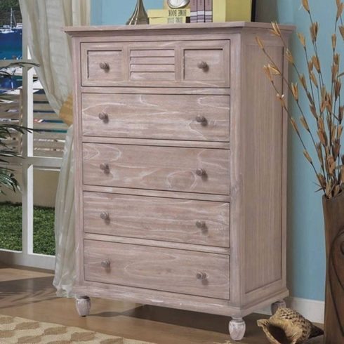 Driftwood Distressed 5 Drawer Chest