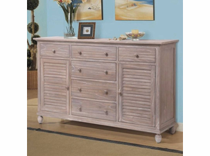 Driftwood Distressed 6 Drawer 2 Door Dresser