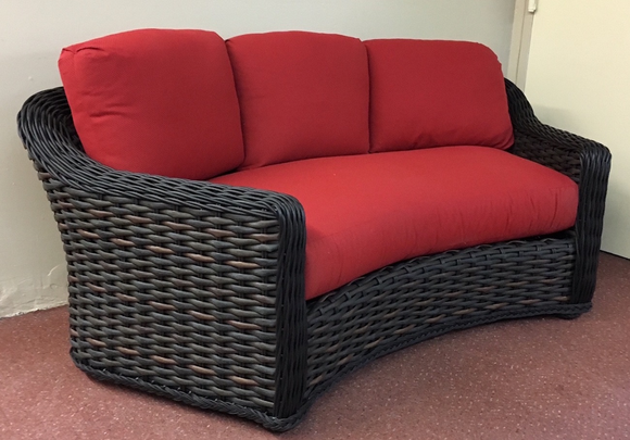 lake george outdoor wicker curved sofa. Black Bedroom Furniture Sets. Home Design Ideas