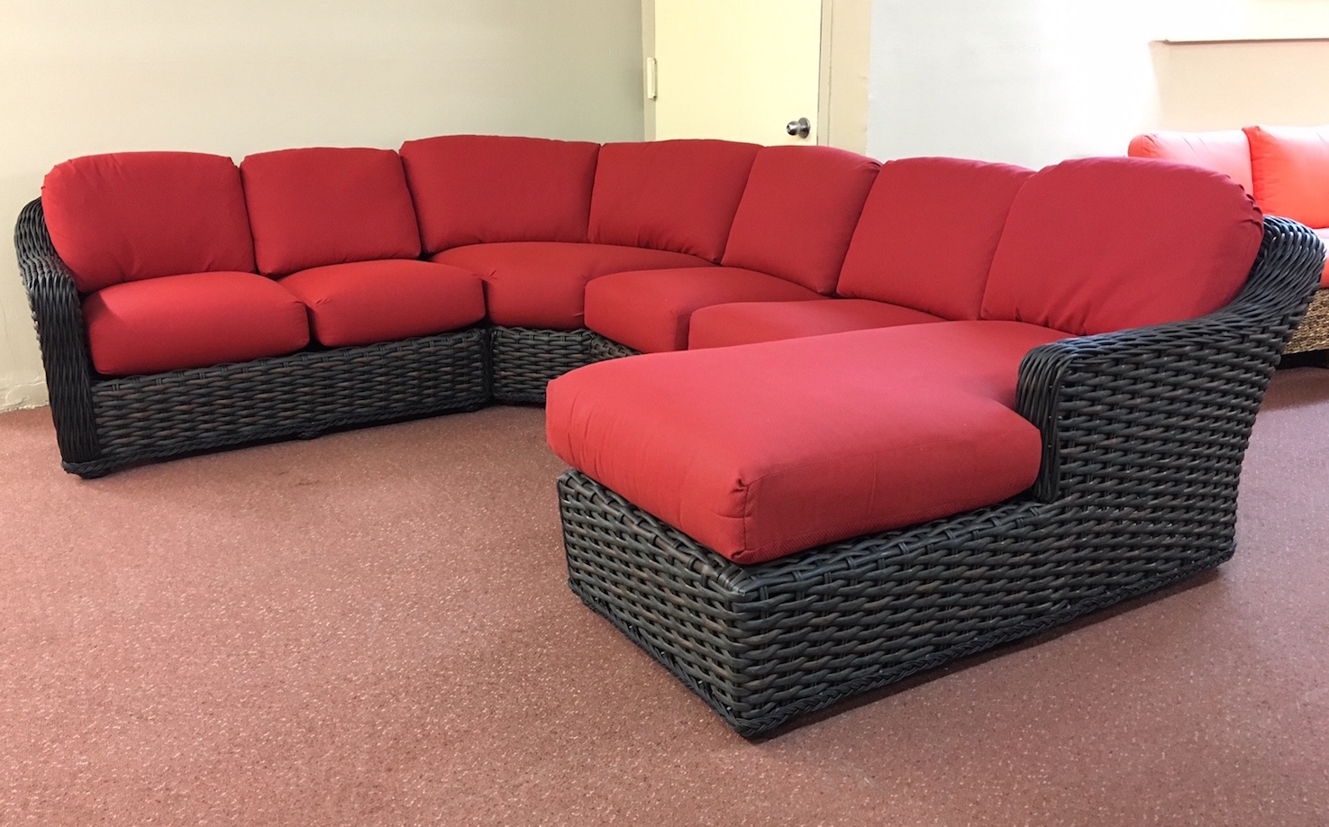 lake george outdoor wicker sectional with chaise With wicker sectional sofa with chaise