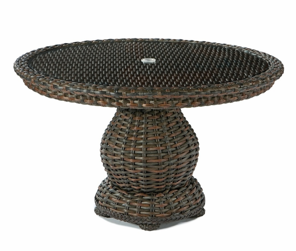 Lane venture south hampton 48 round glass top dining table for 13 inch round glass table top