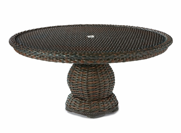 Lane venture south hampton 60 round glass top dining table for 13 inch round glass table top