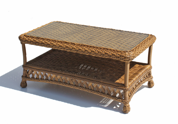 Outdoor Wicker Coffee Table In Natural Wicker Paradise