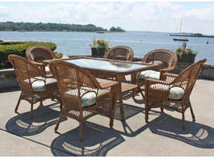 Outdoor Wicker Dining Set: Cape Cod Natural Finish