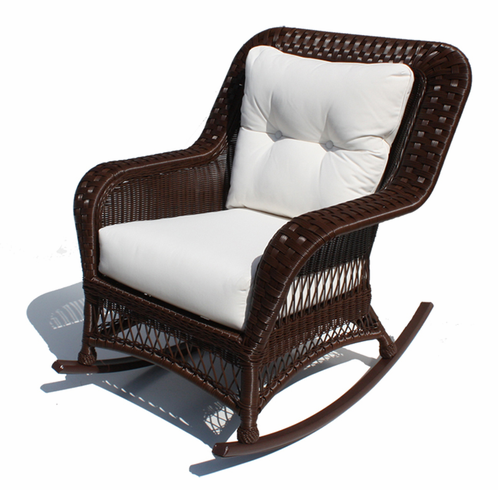 Outdoor Wicker Rocker Princeton Shown In Chocolate Brown