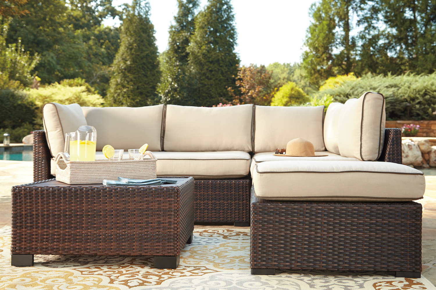 sectional set product festival wicker depot piece conversation sofa patio outdoor
