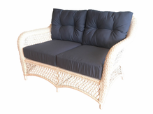 Patio Wicker Loveseat with Sunbrella- Seville Collection
