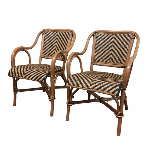 Safari Rattan Dining Arm Chairs   Set Of 2