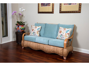 Seagrass and Wood Sofa
