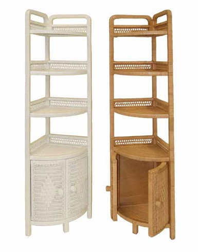 Corner Shel Tall Wicker Corner Shelf