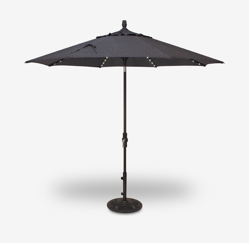 Treasure Garden 9 Foot LED Light Umbrella with Collar Tilt