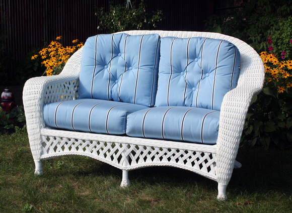 White Outdoor Wicker Loveseat