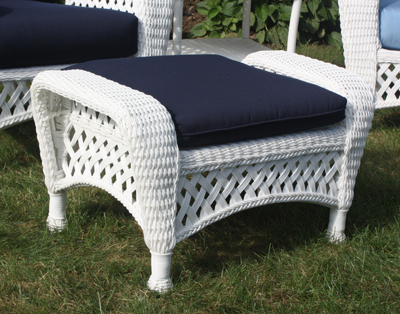 White Outdoor Wicker Ottoman
