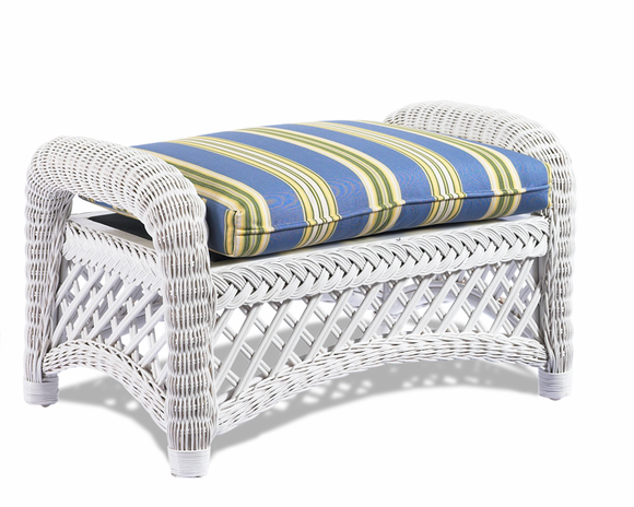 White Wicker Ottoman Lanai Wicker Paradise