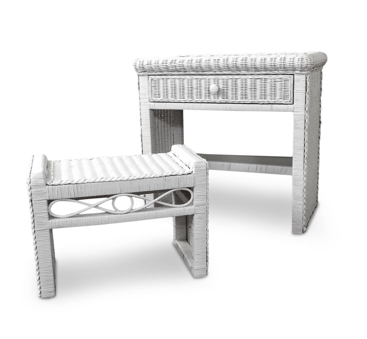 Favorite 1 Drawer Wicker Desk and Bench | Wicker Paradise MT54