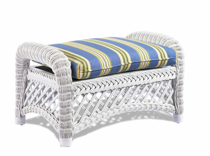 Wicker Ottoman - Lanai White