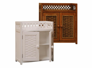 Wood and Wicker Wall Cabinet