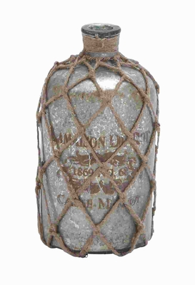 Glass Jute Bottle Polished Surface With A Silver Coat - 27921 by Benzara