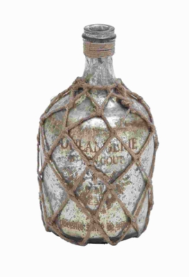 Glass Jute Bottle With Inner Layer Is Coated In Silver Color - 27920 by Benzara