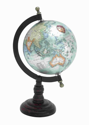 Beautiful Metal Wood Globe With Wooden Axis - 27939 by Benzara