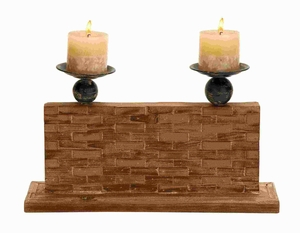 "10""H Wood Candle Holder With Vertical Rectangular Stand - 54328 by Benzara"