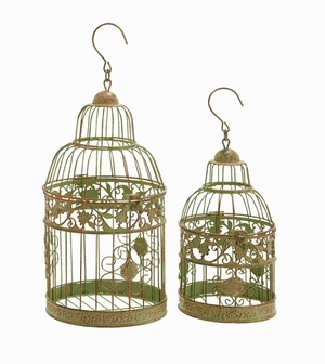 Metal Birdcages in Dull Gold Antique Polish - Set of 2 - 66031 by Benzara