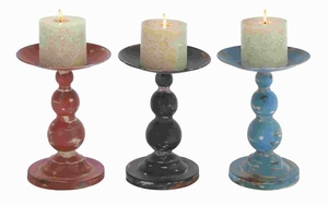 Candle Holder Assorted Solid and Durable - Set of 3 - 50429 by Benzara