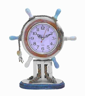 Wood Clock in Nautical Theme with Sailor Wheel Frame - 78717 by Benzara