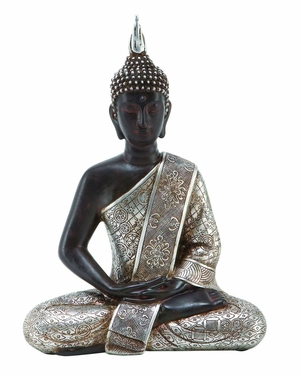 8 INCHES WIDE POLYSTONE BUDDHA WITH BLACK WITH SILVER ROBE - 44127 by Benzara