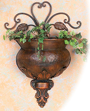 "Metal Wall Planter buy copper floral wall planter 12"" at wildorchidquilts"