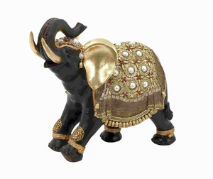 Indian Style PolystoneDecorative Elephant with Gold Accents - 69477 by Benzara