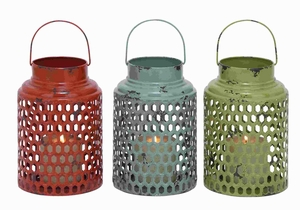 Metal Candle Holder 3 Assorted with Lantern Design - 34902 by Benzara