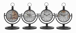 Metal Desk Clock Assorted in Natural Shades (Set of 4) - 92200 by Benzara