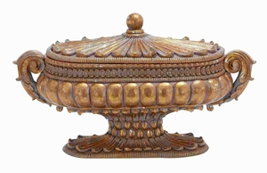 Container In Gold Finish With Solid Design - 54819 by Benzara