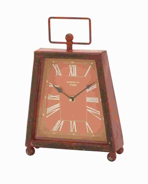 Trendy Metal Clock With Unique Shade Of Red Color - 56164 by Benzara