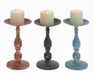 50427 Candle Holder Assorted Solid and Durable - Set of 3 - 50427 by Benzara