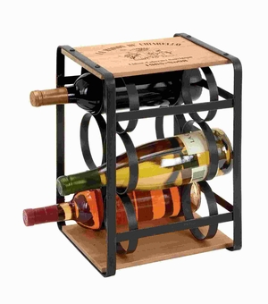 Wine Holder In Brown Colored Metal Frame - 56173 by Benzara