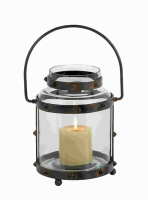 Metal Glass Lantern With Pointed Studs Design - 23800 by Benzara