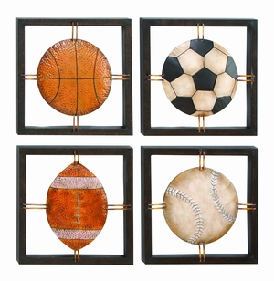 Metal Wall Plaque Set Of 4 Assorted Specially Made For Ball Lovers - 13558 by Benzara