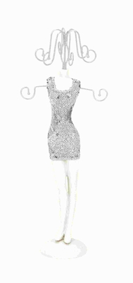 """14""""H Doll Shaped Jewelry Holder Flaunting a Sequined Body  - 98759 by Benzara"""