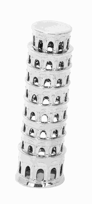"""15"""" H Ceramic Silver Vase Modeled Like Leaning Tower of Pisa  - 71760 by Benzara"""
