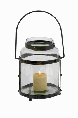 Metal Glass Lantern With Solid Metal Frame - 23801 by Benzara