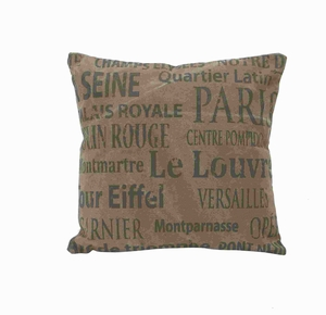 """17"""" H French Valentine Fabric Pillow In Brown Color Base - 54176 by Benzara"""