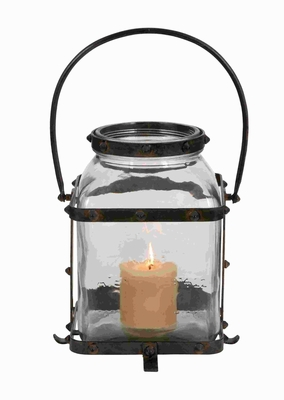 Metal Glass Lantern In Worn And Aged Finish - 34698 by Benzara