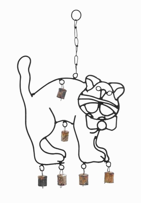 Rustproof Metal Crafted Cute Wind Chime With A Cat Design - 26746 by Benzara