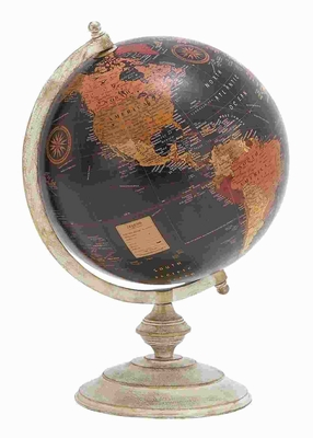Beautiful Globe with Metallic Base & Glossy Polish - 28368 by Benzara