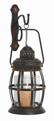 """19""""H Metal Glass Wall Lantern Designed with arched Contours  by Benzara"""