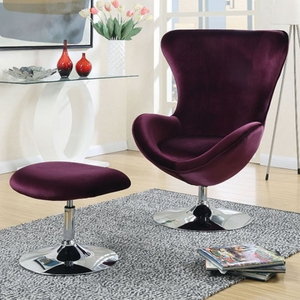 Eloise Contemporary Chair With Ottoman In Purple